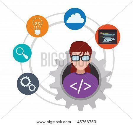 woman girl glasses gear tool bulb lupe cloud developer web responsive development website programming icon set. Colorful design. Vector illustration