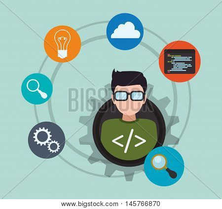 man boy glasses gears bulb cloud lupe developer web responsive development website programming icon set. Colorful design. Vector illustration