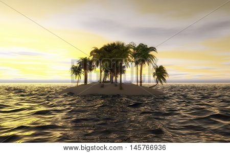 Small tropical island with a few palm trees at sunset. 3D Illustration