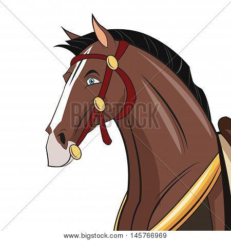 Horse animal cartoon with uniform icon. comic design. Colorful design. Vector illustration