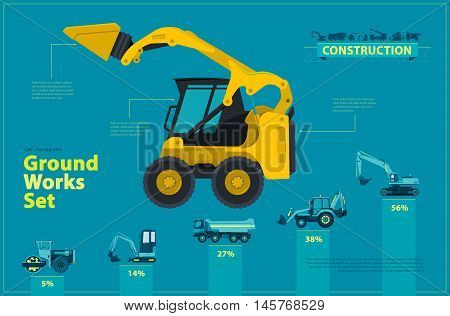 Blue infographic big set of ground works blue machines vehicles. Catalog page. Heavy construction equipment for building truck digger crane bagger mix roller excavator transportation master vector.