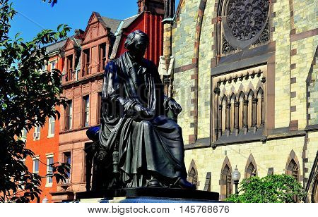 Baltimmore Maryland - July 24 2013: Statue of United States Supreme Court Justice Roger Taney in Mount Vernon Place *