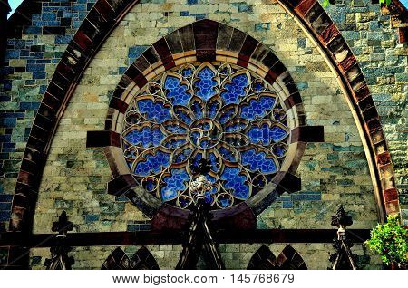 Baltimmore Maryland - Jly 23 2013: Rose window on the west front of 1843 Mount Vernon United Methodist Church in Mount Vernon Place *