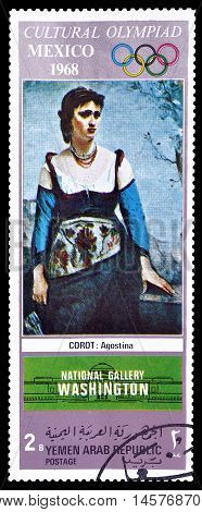 YEMEN - CIRCA 1968 : Cancelled postage stamp printed by Yemen, that shows painting by Corot.