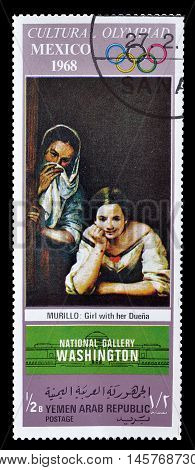 YEMEN - CIRCA 1968 : Cancelled postage stamp printed by Yemen, that shows painting by Murillo.
