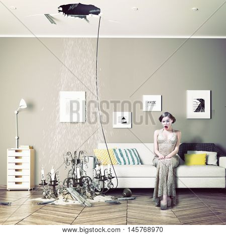 broken ceiling in the room and woman inside. Photo combination concept