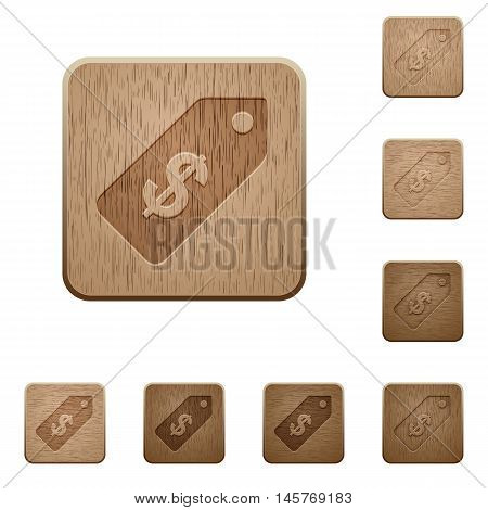 Set of carved wooden Dollar price label buttons in 8 variations.