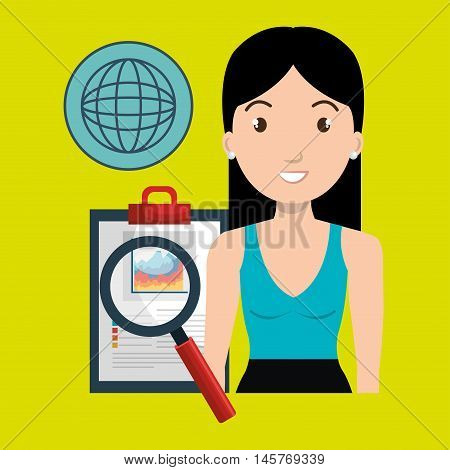 woman clipboard search global vector illustration eps 10