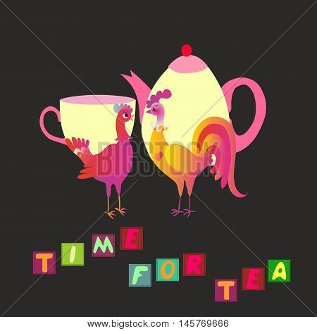 Time for tea. Fairy tea party. Rooster with teapot and hen with teacup. Vector illustration.