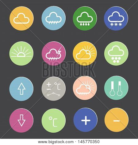 weather forecast icons on a gray background