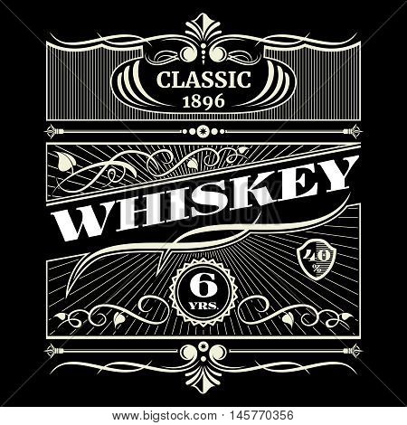 Vintage antique american whiskey vector. Label for classic sexennial whiskey illustration