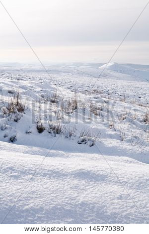 Winter scene of countryside covered in snow. Derbyshire Peak District UK