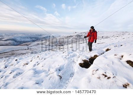 Indian Woman Hiking In Winter
