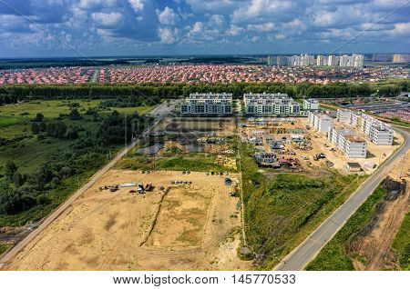 Tyumen, Russia - July 29, 2016: Aerial view on APRIL low housing estate construction