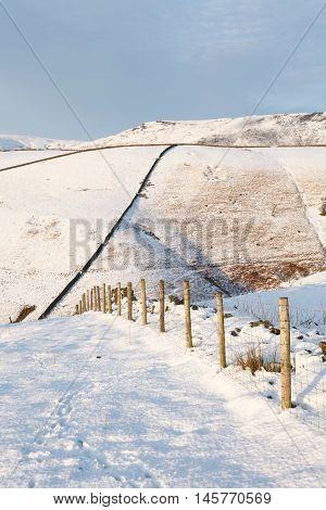 Snow covered fields in winter Derbyshire countryside UK
