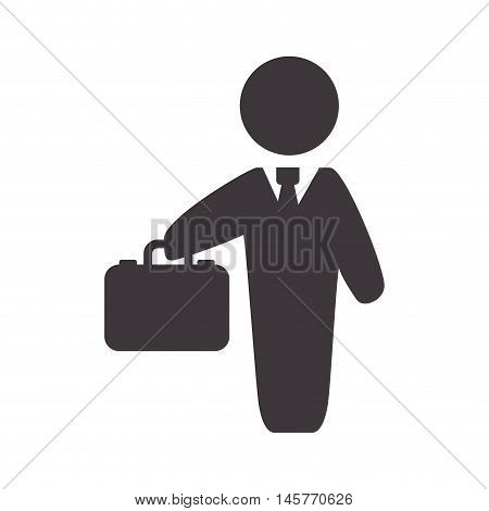 businessman suitcase pictogram necktie business financial item icon. Flat and Isolated design. Vector illustration