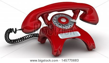 Red telephone. Vintage telephone in red standing on the white surface. Isolated. 3D Illustration