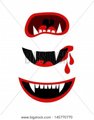 Vampire mouth with fangs. Vector halloween horror teeth isolated on white background