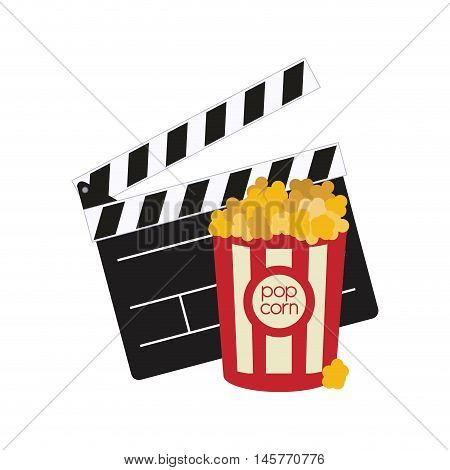 clapboard pop corn film cinema movie entertainment show icon. Flat and Isolated design. Vector illustration