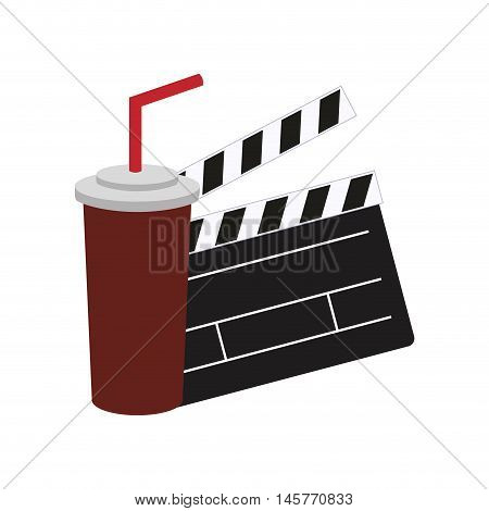 clapboard soda film cinema movie entertainment show icon. Flat and Isolated design. Vector illustration