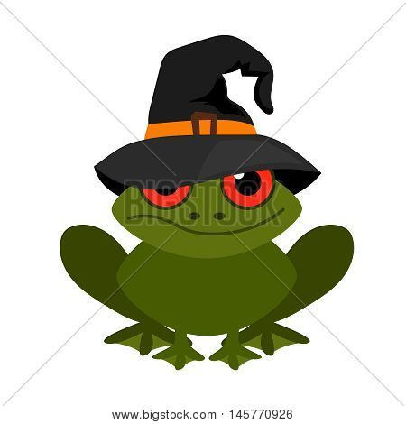Halloween frog mascot in witch hat vector isolated on white background