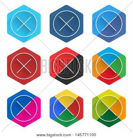 Flat Popular Social Network Hexagon Icon Delete