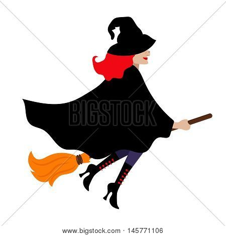 Halloween witch isolated on white background. Scary carnival magician woman with black cloak and broom