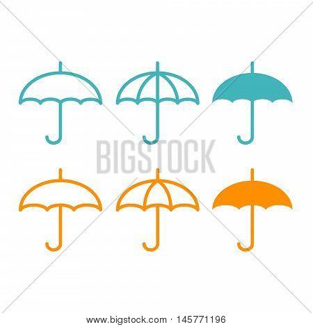 Flat icon umbrella, isolated on the white background.