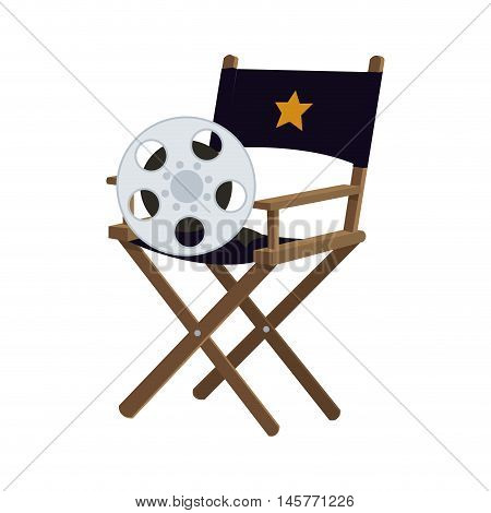 director chair film reel cinema movie entertainment show icon. Flat and Isolated design. Vector illustration