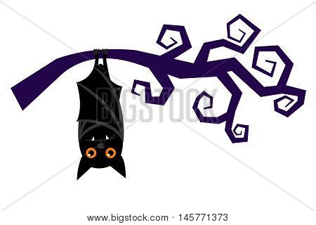 Cartoon bat hanging on tree branch, sleeping halloween vampire bat vector isolated on white background