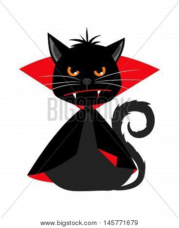 Cat vampire in Dracula carnival costume for halloween party, black cat vector mascot isolated on white background