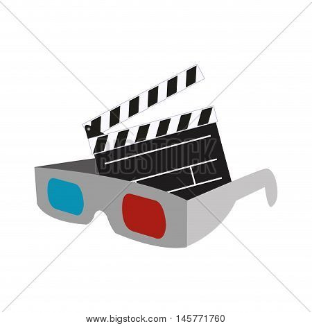 3d glasses clapboard film cinema movie entertainment show icon. Flat and Isolated design. Vector illustration