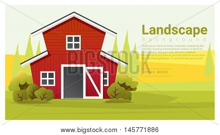 Rural landscape with farmhouse background , vector , illustration