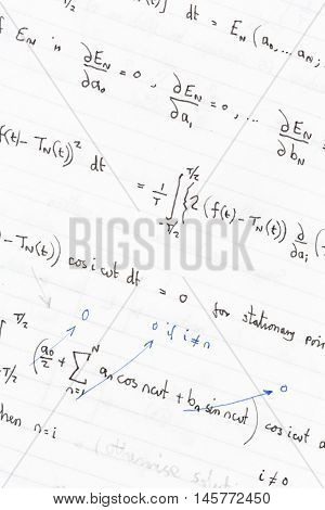 Complex maths and physics equations and formulas