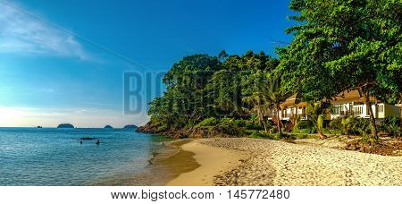 To live by the sea. Beach house on seashore cost on a sunny day Lonely Beach Koh ChangThailand.