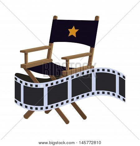 director chair film strip cinema movie entertainment show icon. Flat and Isolated design. Vector illustration
