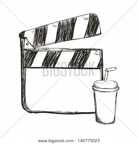 clapboard soda film cinema movie entertainment show icon. Sketch and Isolated design. Vector illustration