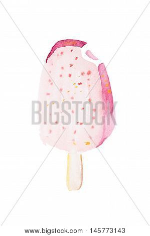 Bitten pink popsicle hand drawn watercolor illustration
