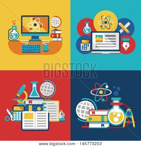 Education and science vector flat concepts for physics, biology or chemistry school laboratory