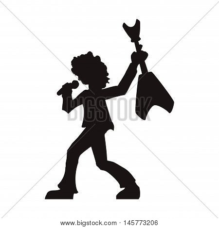 man musician microphone guitar rock music concert silhouette icon. Flat and Isolated design. Vector illustration