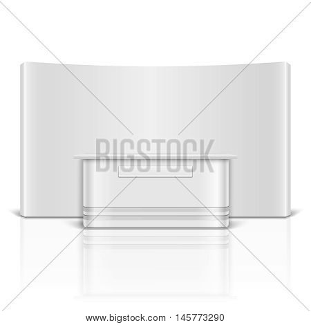 Blank exhibition, retail stand counter isolated on white background. Empty commercial promotional counter for marketing. Vector illustration