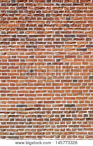 Closeup of a red brick wall background
