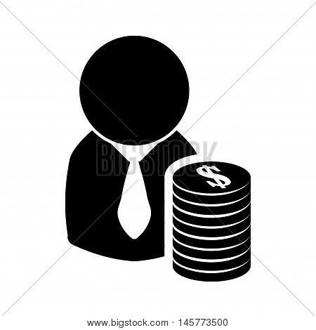 businessman coins pictogram necktie business financial item icon. Flat and Isolated design. Vector illustration