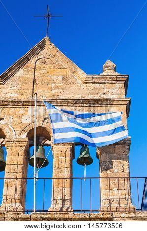 Greek Flag On Church Of Saint Nicholas Of Mole