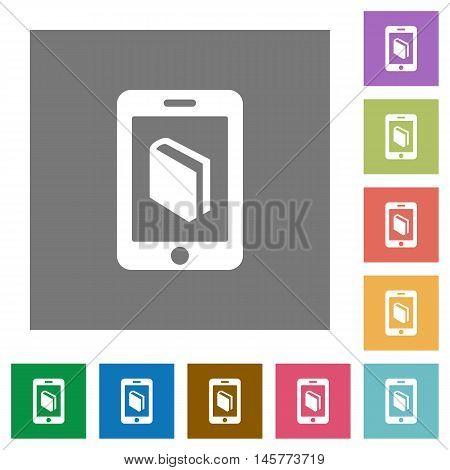 E-book flat icon set on color square background.