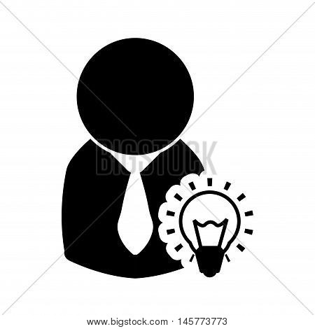 businessman bulb pictogram necktie business financial item icon. Flat and Isolated design. Vector illustration