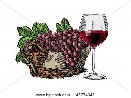 Drawing of wine glass and basket with grapes