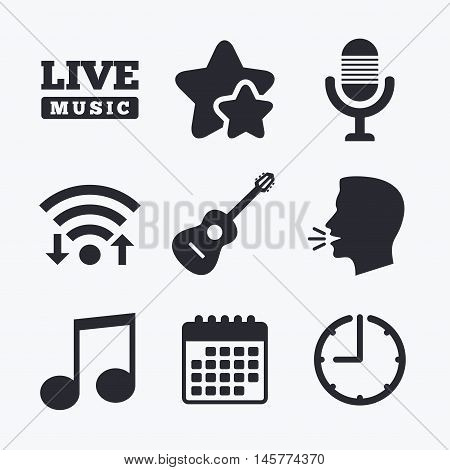 Musical elements icons. Microphone and Live music symbols. Music note and acoustic guitar signs. Wifi internet, favorite stars, calendar and clock. Talking head. Vector