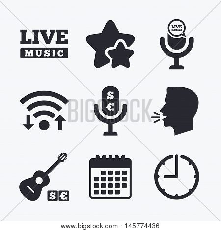 Musical elements icons. Microphone and Live music symbols. Paid music and acoustic guitar signs. Wifi internet, favorite stars, calendar and clock. Talking head. Vector
