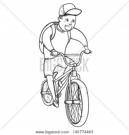 School boy riding bmx bycicle hand drawn vector illustration